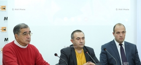Press conference of Heritage party MP Tevan Poghosyan and politicians Suren Zolyan and Hrant Melik-Shahnazaryan