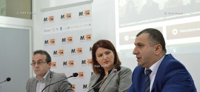 Press conference of the head of Passport and Visa Department of RA Police Mnacakan Bichakhchyan and Chairman of Helsinki Citizens' Assembly – Vanadzor Artur Sakunts