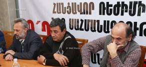 Press conference of the painter, freedom fighter Nikol Aghababyan, scientist Harutyun Karapetyan and playwright, culturologist Khachik Chalikyan