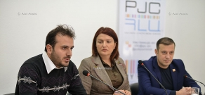 Press conference of PPA Faction member Vahan Babayan and member of Armenian National Congress (ANC) opposition party Arshak Musakhanyan