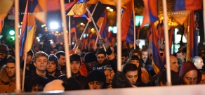 """""""New Armenia"""" Public Salvation Front's rally against constitutional amendmentshas kicks off in Yerevan's Liberty Square"""