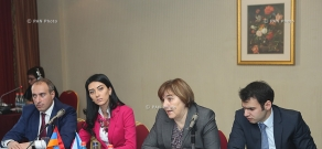 RA Minister of Justice Arpine Hovhannisyan and UN Children's Fund representative Tanya Radochai attend first session of 'Minors' Justice Council'