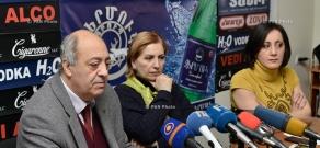 Press conference of chairman of the Writers' Union of Armenia Edward Militonyan and  playwright Karine Khodikyan