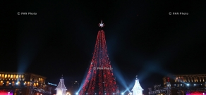 Yerevan's Grand Christmas Tree lights on
