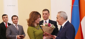 RA National Assembly President Galust Sahakyan hosts representatives of mass media on the occasion of Christmas and New Year