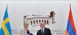 RA Minister of Foreign Affairs Edward Nalbandyan receives  Swedish Foreign Minister Margot Wallström