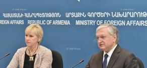 Совместная пресс-конференция Министра иностранных дел Армении Эдварда Налбандяна и Министра иностранных дел Швеции Маргот Вальстрём