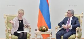 Armenian president Serzh Sargsyan receives Swedish Foreign Minister Margot Wallström