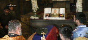 Major Hayk Toroyan's memorial service at St. Astvatsatsin Church, who was killed in the course of military operations on the line of contact between Nagorno Karabakh and Azerbaijan