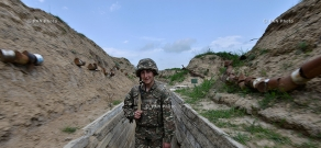 Border soldiers protecting the Artsakh-Azerbaijan contact line in Martuni direction