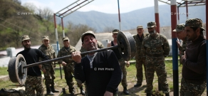 Volunteers at the place of permanent deployment of Yeghnikner military unit in the north of Artsakh (Nagorno-Karabakh Republic)