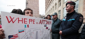 Protest against OSCE Minsk Group co-chairs in front of Armenia Marriott Hotel