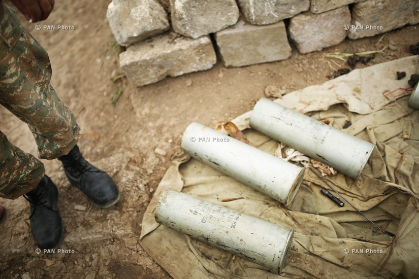 Cartridge cases of a D-30 howitzer in the southeastern section of the Nagorno Karabakh-Azerbaijan contact line
