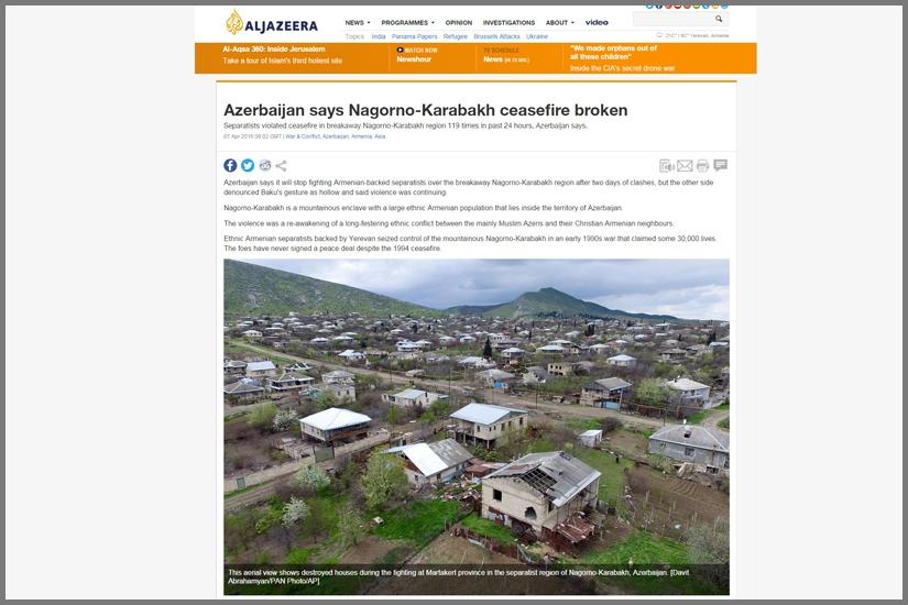 AL JAZEERA / Martakert town of Nagorno -Karabakh Republic, bombarded by Azerbaijani army
