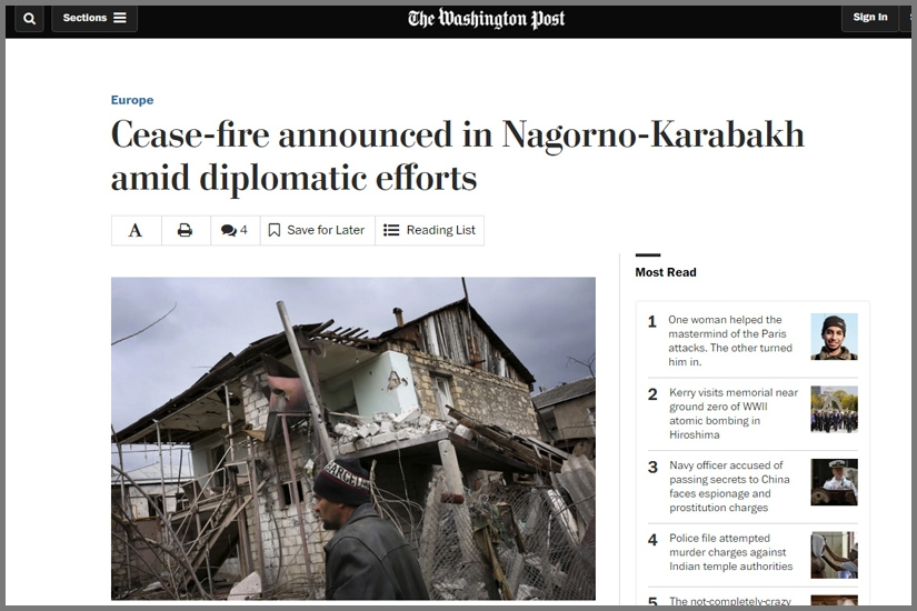 WASHINGTONPOST / One of those abandoned and destroyed houses in Martakert town of Nagorno-Karabakh Republic