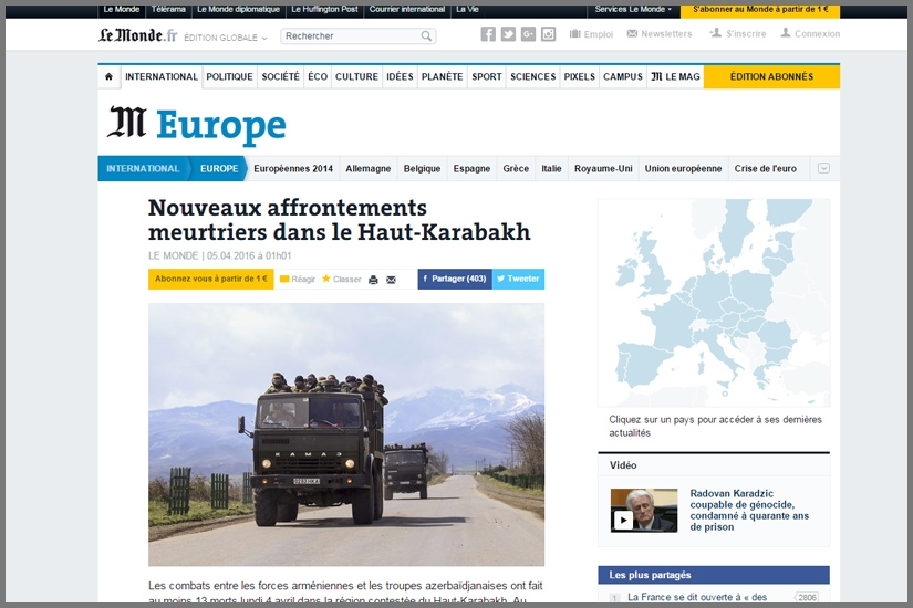 LE MONDE / Armenian fighters stand in backs of Kamaz military trucks on their way to a frontline at Martakert province of Nagorno Karabakh Republic