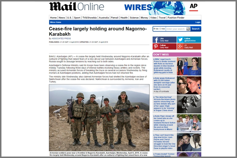 DAILY MAIL / Armenian soldiers pose near a frontline in Nagorno-Karabakh Republic