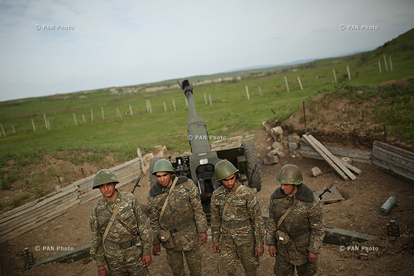 Artillerymen in the southeastern section of the Nagorno Karabakh-Azerbaijan contact line