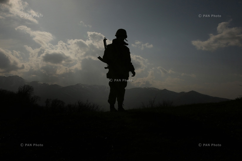 An Armenian soldier in the military positions of the northern section of Nagorno- Karabakh Defense Army