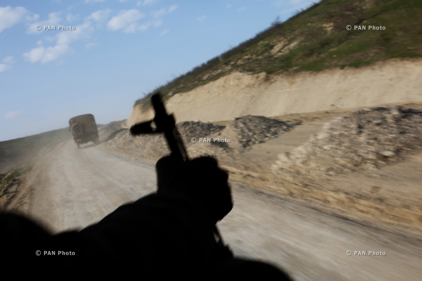 Armenian soldiers patrol near the village of Mataghis in Nagorno-Karabakh Republic