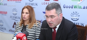 Press conference of Heritage Party vice-president Armen Martirosyan and  Heritage party's parliamentary group member Zaruhi Postanjyan