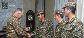 The Nagorno Karabakh Defense Army soldiers receive passenger and ambulance cars from benefactors Karen Khachatryan and Arthur Varzhapetyan