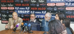 Press conference of Armenia's Writers Union chairman Edward Militonyan, director Nikolay Tsaturyan and composer Vahan Artsruni
