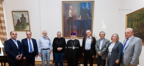 Catholicos of All Armenians Karekin II receives Nobel Laureates John Warren, Aaron Ciechanover, Dan Shechtman and Ei-ichi Negishi