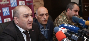 Press conference of Deputy Head of the State Social Security Service  Smbat Saiyan and lawyer for Armenia's Ministry of Defense  Martin Mkrtchyan