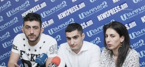 Press conference of 'Let's Support Border Communities' Civil Initiative's members Sofia Hovsepyan, Artush Chibukhchyan and activist Maksim Sargsyan