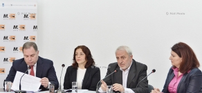 Press conference of ANC parliamentary faction secretary Aram Manukyan, RPA faction secretary Hovhannes Sahakyan and 'Transparency International' Anti-Corruption Center Deputy Head Sona Ayvazyan