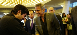 Serzh Sargsyan, George Clooney, Noubar Afeyan and Vartan Gregorian watch Refugees Installation, organized in the framework of 2nd Global Forum 'Against the Crime of Genocide'