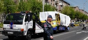 Exploded bus on Halabyan street, Yerevan
