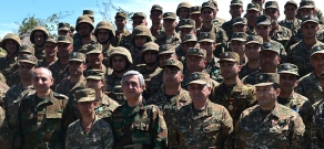 Armenian President Serzh Sargsyan gives out state awards to a number of servicemen for displaying courage and bravery in Nagorno Karabakh