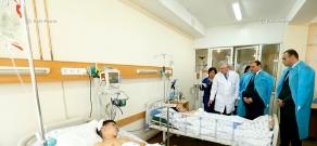 The two teens - Edgar Gasparyan and Roland Khojoyan - injured in a bus explosion, in Surb Astvatsamayr medical center in Yerevan