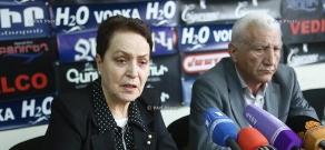 Press conference of 'Against Legal Arbitrariness' NGO Chairman Larisa Alaverdyan and RPA faction MP Lernik Aleksanyan