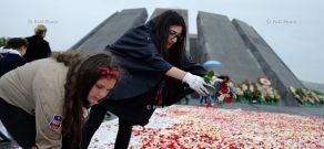 Flowers collected at Tsitsernakaberd memorial