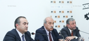 Press conference of NA Deputy Alexander Arzumanyan, deputy from RPA parliamentary faction Khosrov Harutyunyan and Deputy from Heritage Party parliamentary faction Tevan Poghosyan