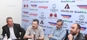 """Press conference of the chairman of The """"Union of Freedom Fighters of the Shushi Special Battalion"""" NGO and board members"""
