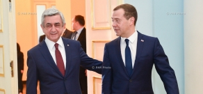 Armenian President Serzh Sargsyan receives the Chairman of Government of Russian Federation Dmitry Medvedev