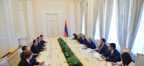 Armenian President Serzh Sargsyan meets with the members of the Intergovernmental Council of the Eurasian Economic Union and Chairman of the EEC Board Tigran Sargsyan