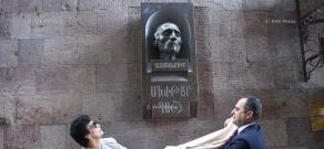 Unveiling bust of Mkhitar Gosh