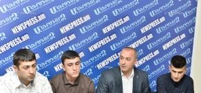 Armenian national taekwondo team head coach Gevorg Danielyan, European silver medalist Arman Yeremyan and G1 tournament bronze medalist  Sergey Avanesov give press conference