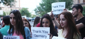 Armenian youth stage gratitude rally in front of Germany Embassy in Armenia for resolution on Genocide recognition and condemnation