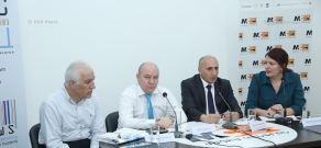 Press conference of economists Vilen Khachatryan, Vahagn Khachatryan and Dean of the Department of Regulation of Economy and International Economic Relations at ASUE Atom Margaryan