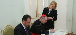The ceremony of the cancellation of postage stamps on occasion of Pope Francis' visit of to Armenia