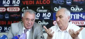 Press conference of Armenia's Democratic Party head Aram Sargsyan and Republican MP Mkrtich Minasyan