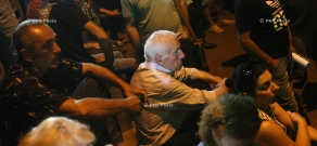 Protest action near Erebuni police HQ in Yerevan in support of armed group holding the department: Day 9
