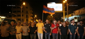 Protest march in support of the armed group, that seized a patrol regiment in Yerevan. Day 10