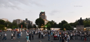 Protest rally in Yerevan's Liberty Square in support of the armed group, that seized a patrol regiment in Yerevan